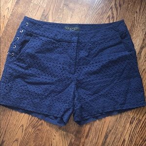 Laundry navy eyelet shorts in size 10